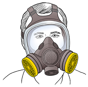 Man wearing respirator with face shield.